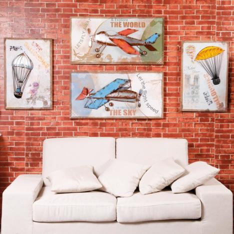 【美式乡村立体木板画复古酒吧咖啡厅墙壁装饰品客厅