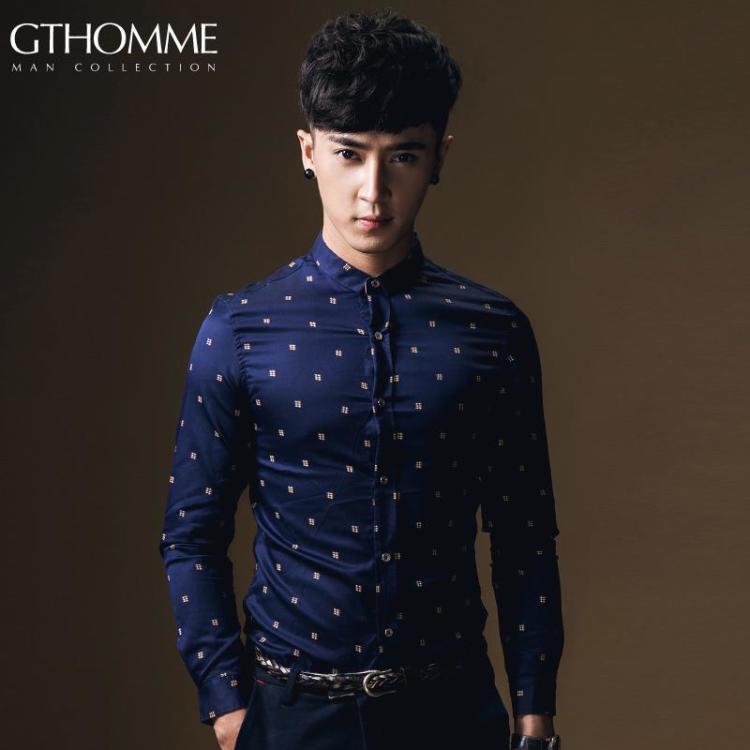 秋冬男装韩版修身男士衬衫休闲百搭长袖