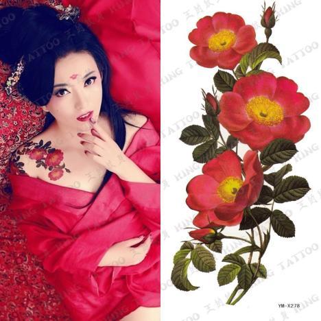 【纹身贴 红色牡丹花 古装影楼】-无类目--74时尚