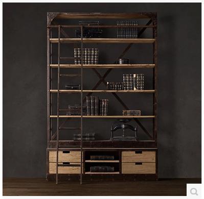 美式欧式工业loft风格铁艺带梯置物架 阁楼复古做旧实木家具书柜