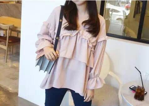 韩国正品春装新品v领喇叭袖可爱层叠花边雪纺娃娃衫
