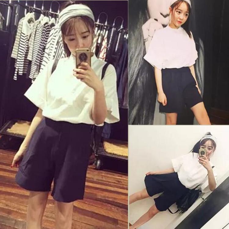 2016夏季新款韩系学院风可爱气质宽松白衬衫+黑色