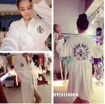 十字架克罗星刺绣白色长款居家睡袍浴袍