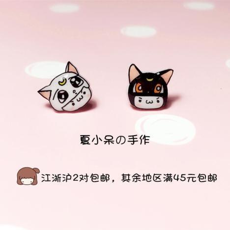 猫咪颜文字 热缩片耳钉 清新卡通可爱 镀银/纯银/塑料/耳夹/磁铁