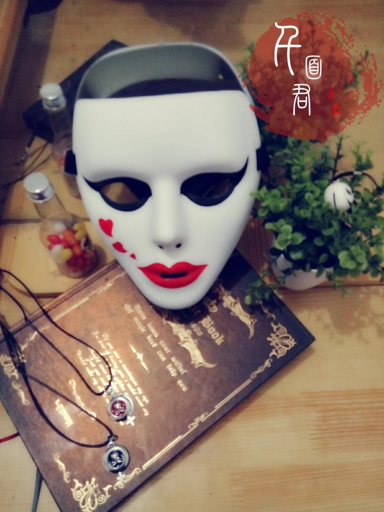 万圣节手绘白色鬼步舞面具男恐怖搞笑街舞表演化妆
