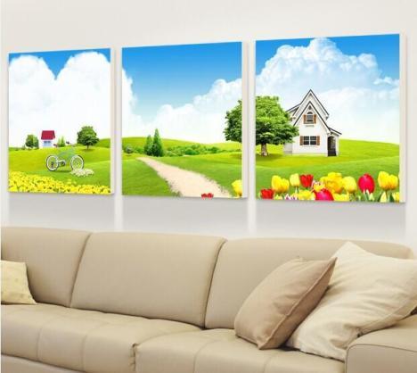 壁画现代时尚简约冰晶无框画卧室三联画沙发背墙画挂
