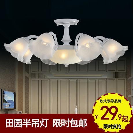 顶两用欧式田园复古白色花朵客厅灯具卧室灯餐厅灯饰