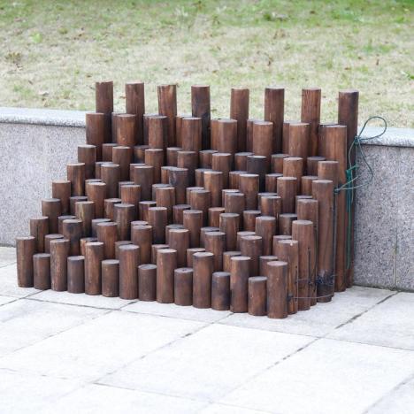 庭院户外防腐木栅栏小篱笆阳台花园花坛装饰碳化木桩圆木围栏实木