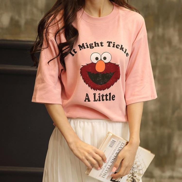 韩国代购 2016可爱笑脸卡通小怪人纯棉舒适宽松t恤女甜美学生款