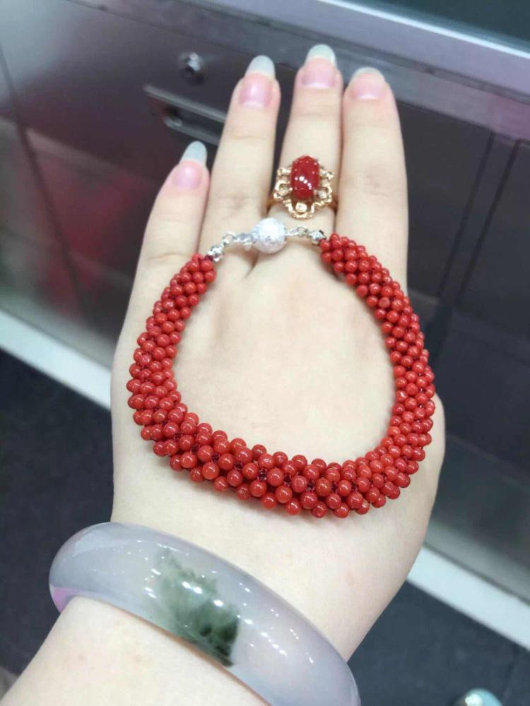 【珊瑚深红珠子编织手链2180/】-无类目--jessica