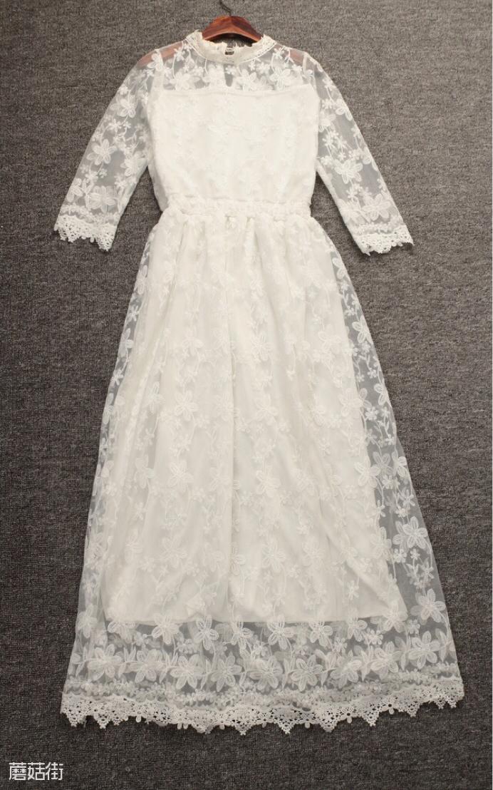 白色蕾丝长裙图片