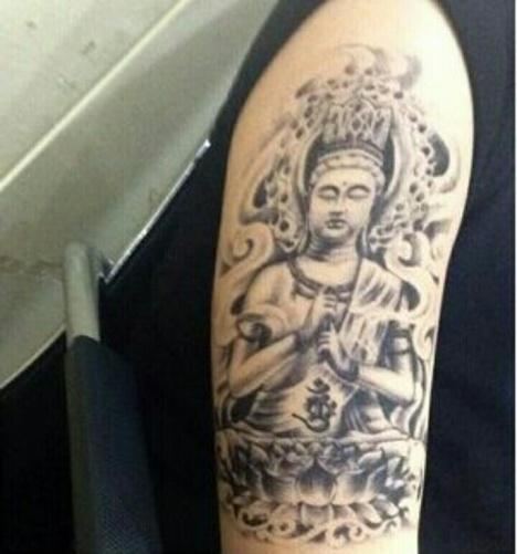 男女佛像花臂纹身贴 佛头 防水花臂手臂佛主纹身贴纸.