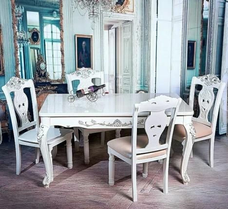 【欧式木纹大理石白面长方形餐桌1】-无类目--景宏