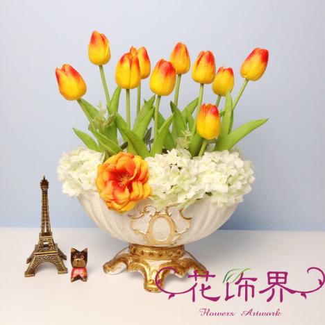 【欧式婚庆客厅餐桌茶几装饰品整体郁金香花瓶套装】