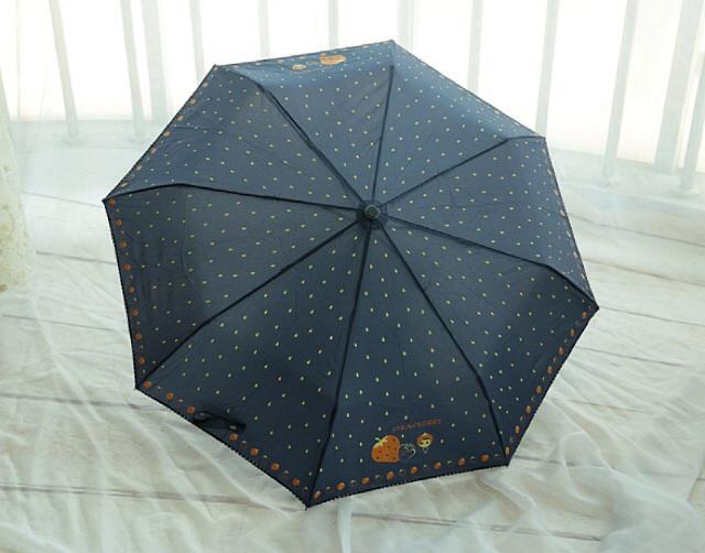 【卡通涂鸦草莓晴雨伞防紫外线折叠】-无类目--也橙橙
