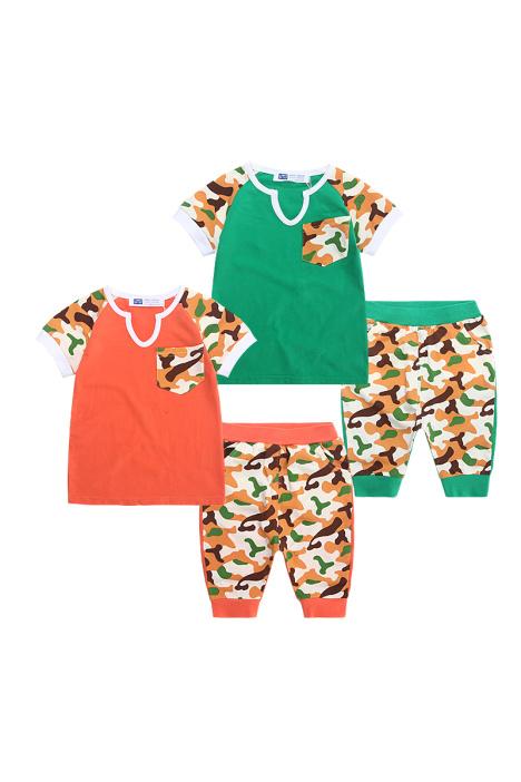 【3-8岁中小童夏款迷彩印花短袖套装】-母婴-母婴