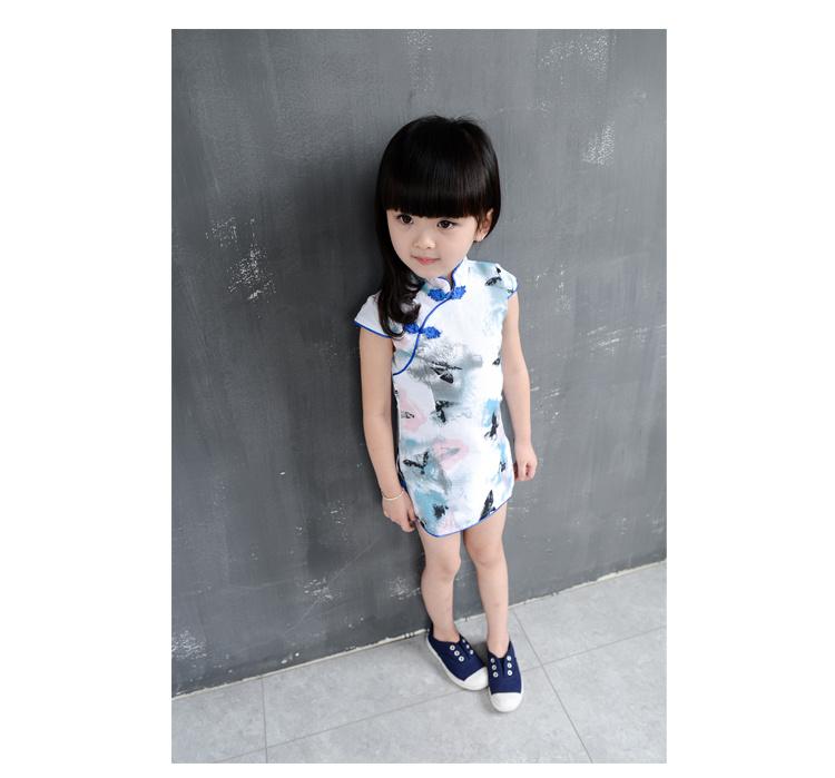 女童 中国风棉麻花朵立领旗袍