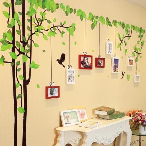 【现代简约记忆树沙发卧室客厅背景墙照片墙欧式