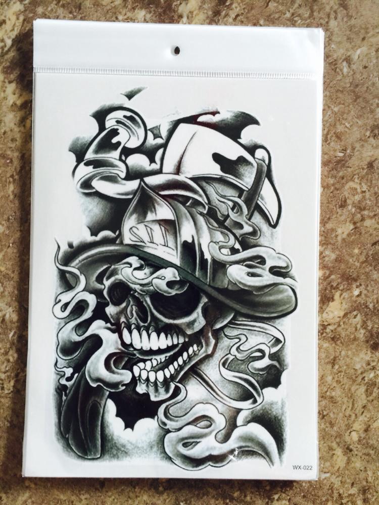 【墨黑骷髅纹身贴】-无类目--喵喵的神奇小铺-蘑菇街