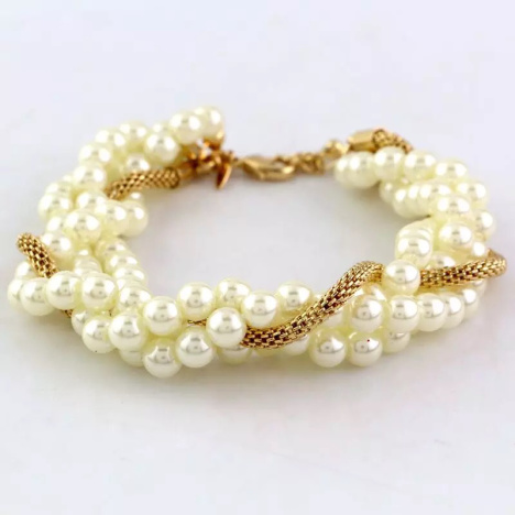 欧美外贸精美珍珠镂空链编织手链
