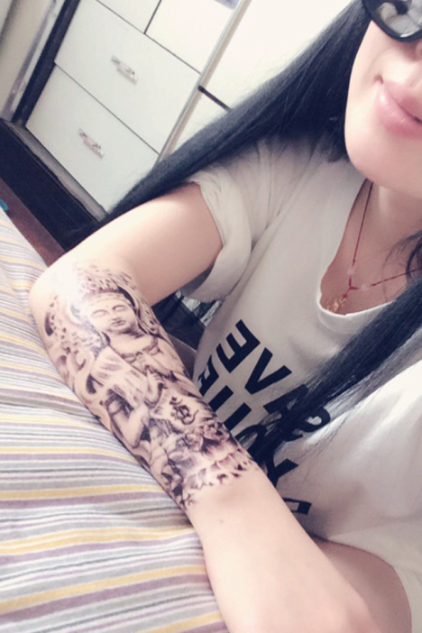 【高端】纹墨轩佛像花臂刺青如来佛祖防水大纹身贴纸图片