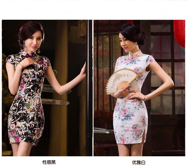 红角儿 黑白藤花系列 新款春夏时尚复古改良弹力棉麻女装旗袍
