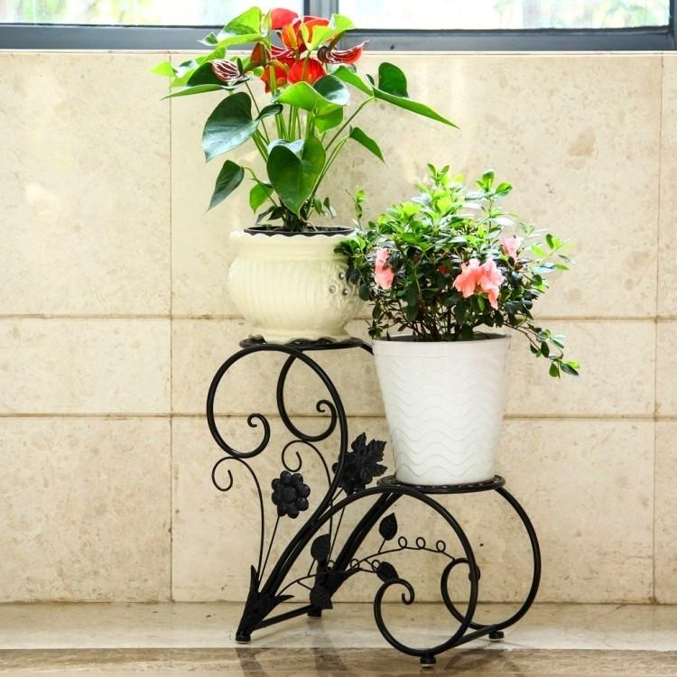 【欧式铁艺花架多层室内实木花盆架客厅落地阳台吊兰