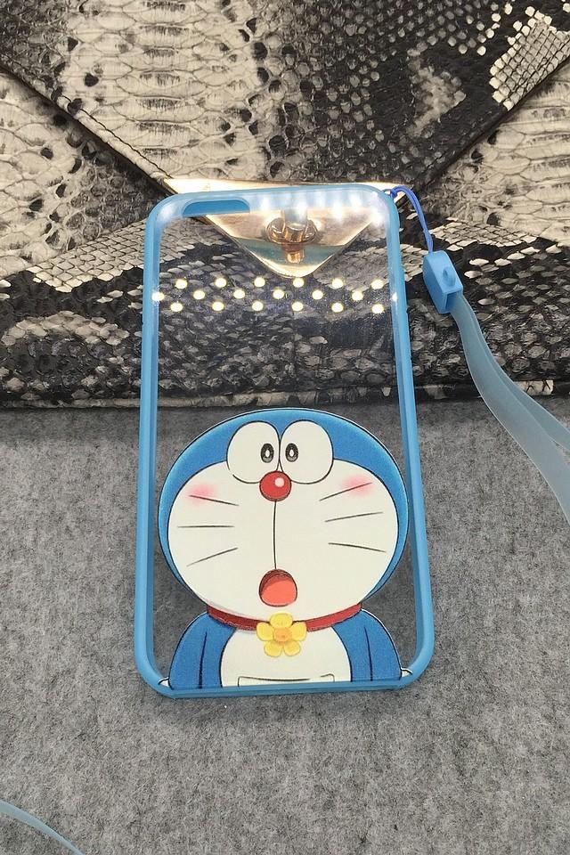 哆啦a梦 iphone5/5s/6/6p全包边框挂绳手机壳