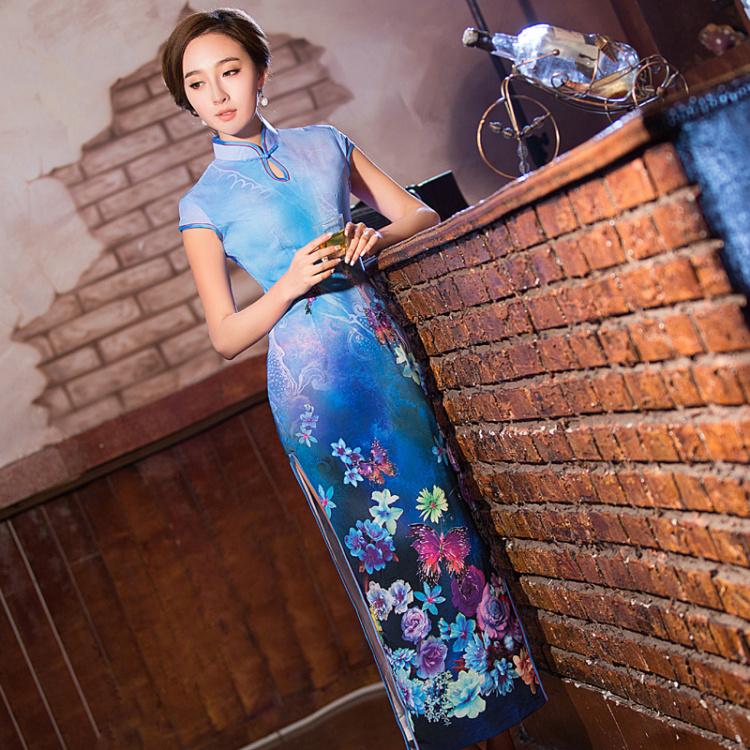 【蝴蝶印花 修身长款旗袍】-衣服-旗袍