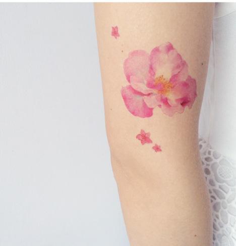 花朵 五瓣花 清新韩版 粉色花 韩版东大门潮品 纹身贴纸防水