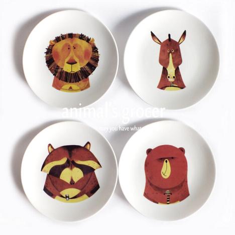 【可爱动物骨瓷盘子陶瓷盘子厨房牛排西餐盘狮子面瘫
