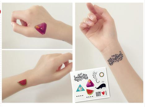 英文字母猫咪 个性纹身贴纸三角形鲸鱼西瓜桃心 女防水纹身贴 (468