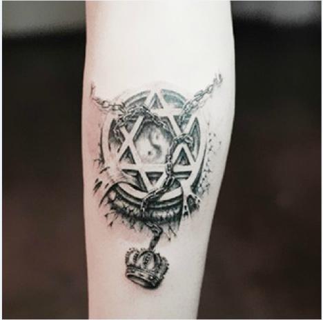 3d六芒星纹身贴 3d皇冠纹身贴纸 纹身贴皇冠链条黑白纹身贴