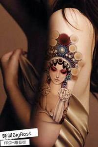 小腿花旦纹身图片 女生和男人小
