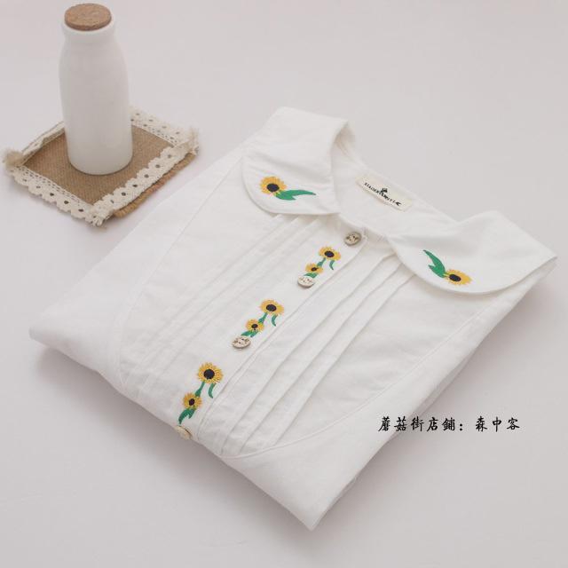 日系文艺小清新刺绣花朵娃娃领纯棉裙摆衬衫