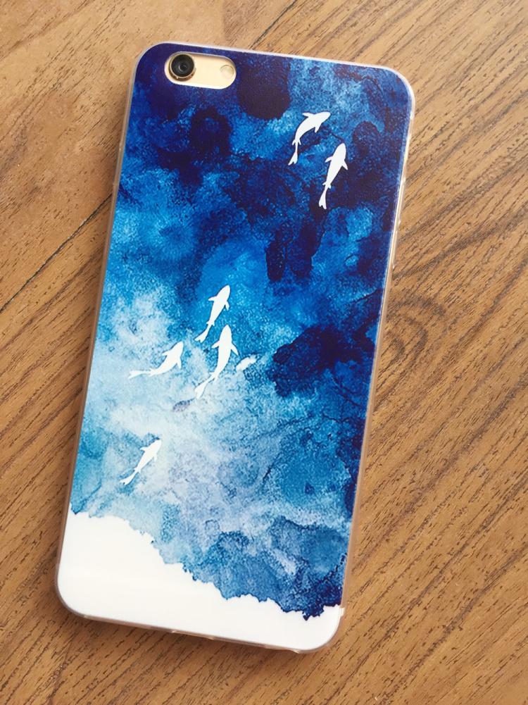 小鲤鱼家 iphone5/5s/6/6p 苹果tpu手机软壳 蓝色海洋文艺小清新