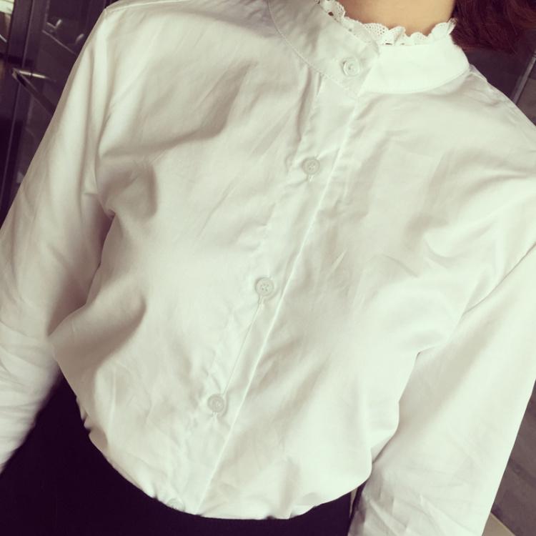【小清新立领花边长袖衬衫】-衣服-服饰鞋包