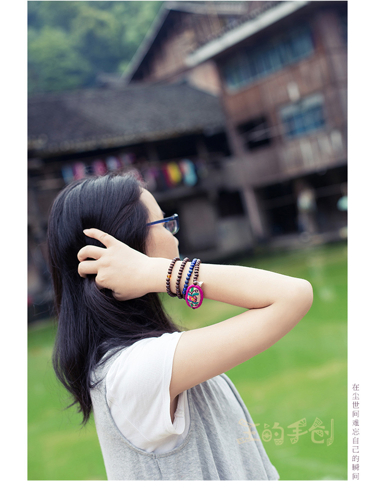 【菩提花】缠绕手链多层原创纯手工刺绣手串文艺棉麻复古项链两用