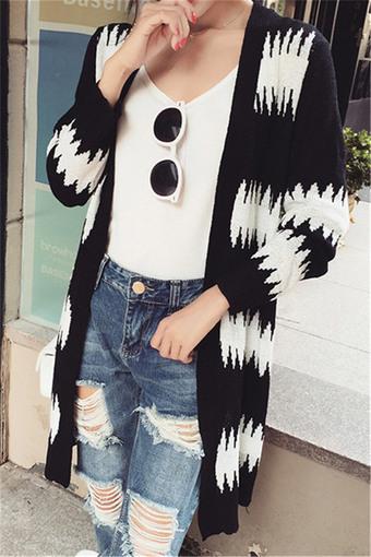 时尚黑白花纹中长款长袖开衫