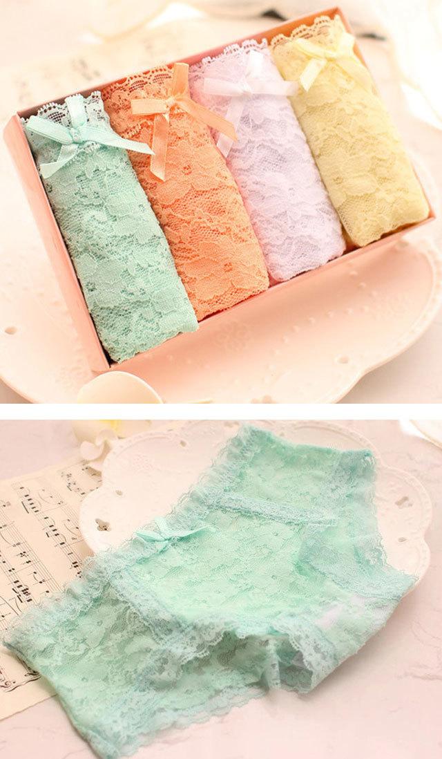 商品描述 【4条盒装】 蕾丝小可爱女式女内裤 ,颜色如图所示.