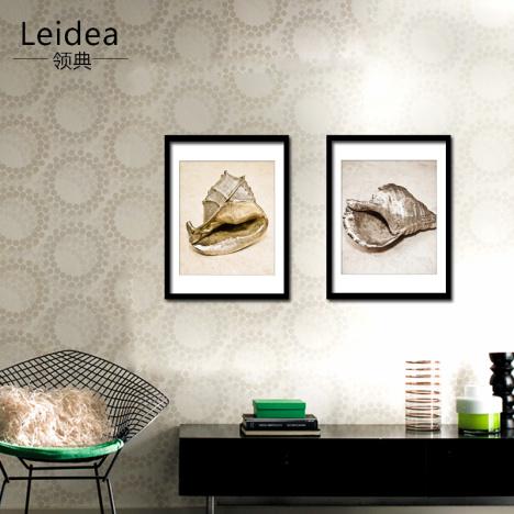 领典 现代装饰画 客厅壁画 卧室床头挂画 餐厅双联 实木相框