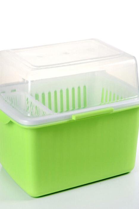 【家英带盖欧式沥水碗架-浅绿色】-null-百货
