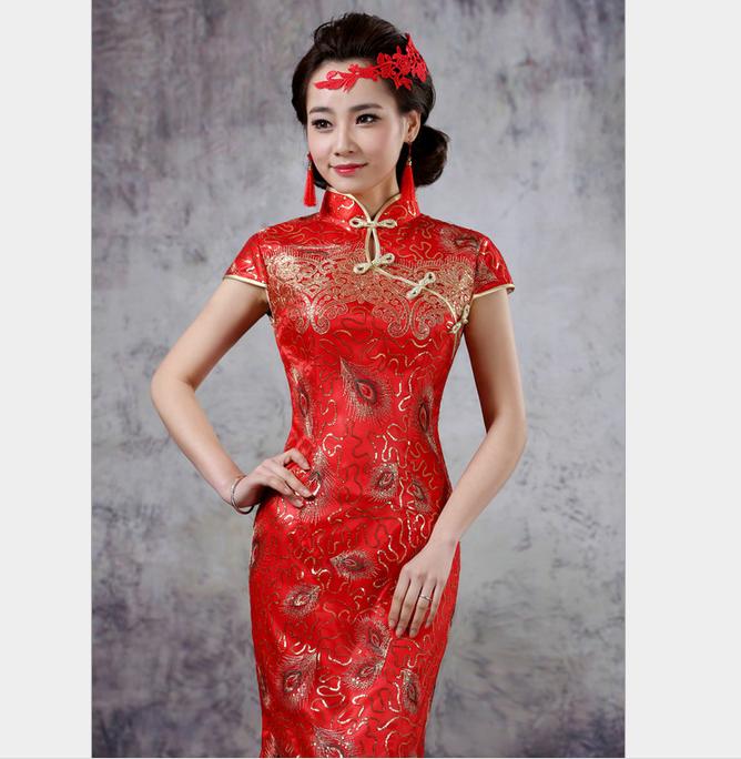 2015新款婚礼旗袍 夏季 新款新娘结婚礼服 织锦缎晚礼服