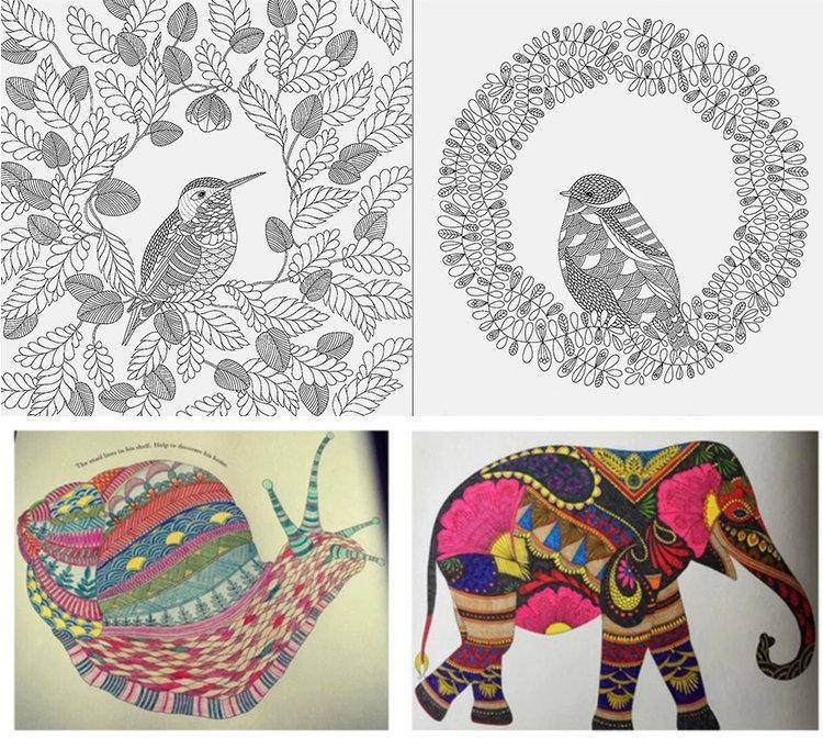 英文版动物王国线装成人减压解压填色本涂色书手绘本