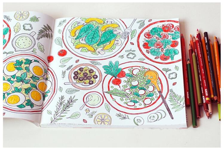 现货韩国填色涂鸦食物本零食食品厨房涂色解压书秘密的庭院