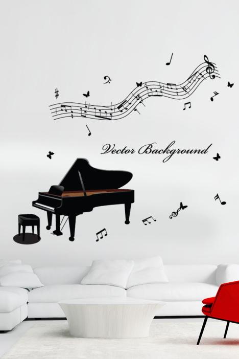 怡然之家 黑色钢琴音符墙贴画
