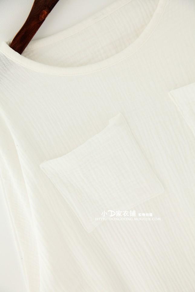 【【小d家】文艺复古风大口袋宽松长袖棉麻衬衫】