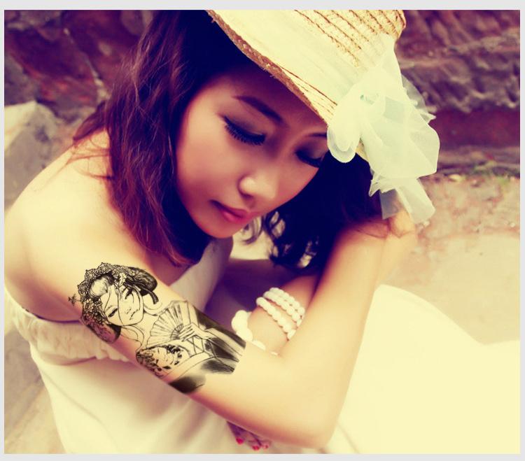 纹身贴 防水 女 艺妓美女花臂 欧美持久古代美女纹身贴45图片