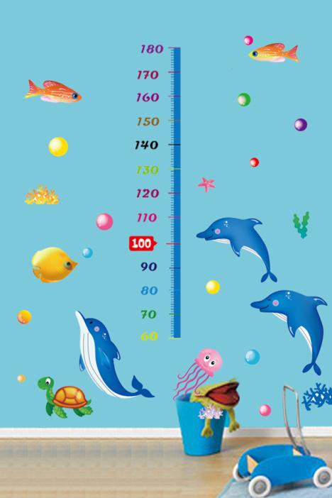 卡通海豚身高贴儿童房幼儿园背景装饰墙贴画