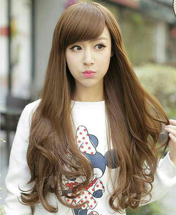 时尚假发女生长卷发斜刘海蓬松大波浪非主流个性棕色黑色假头发套